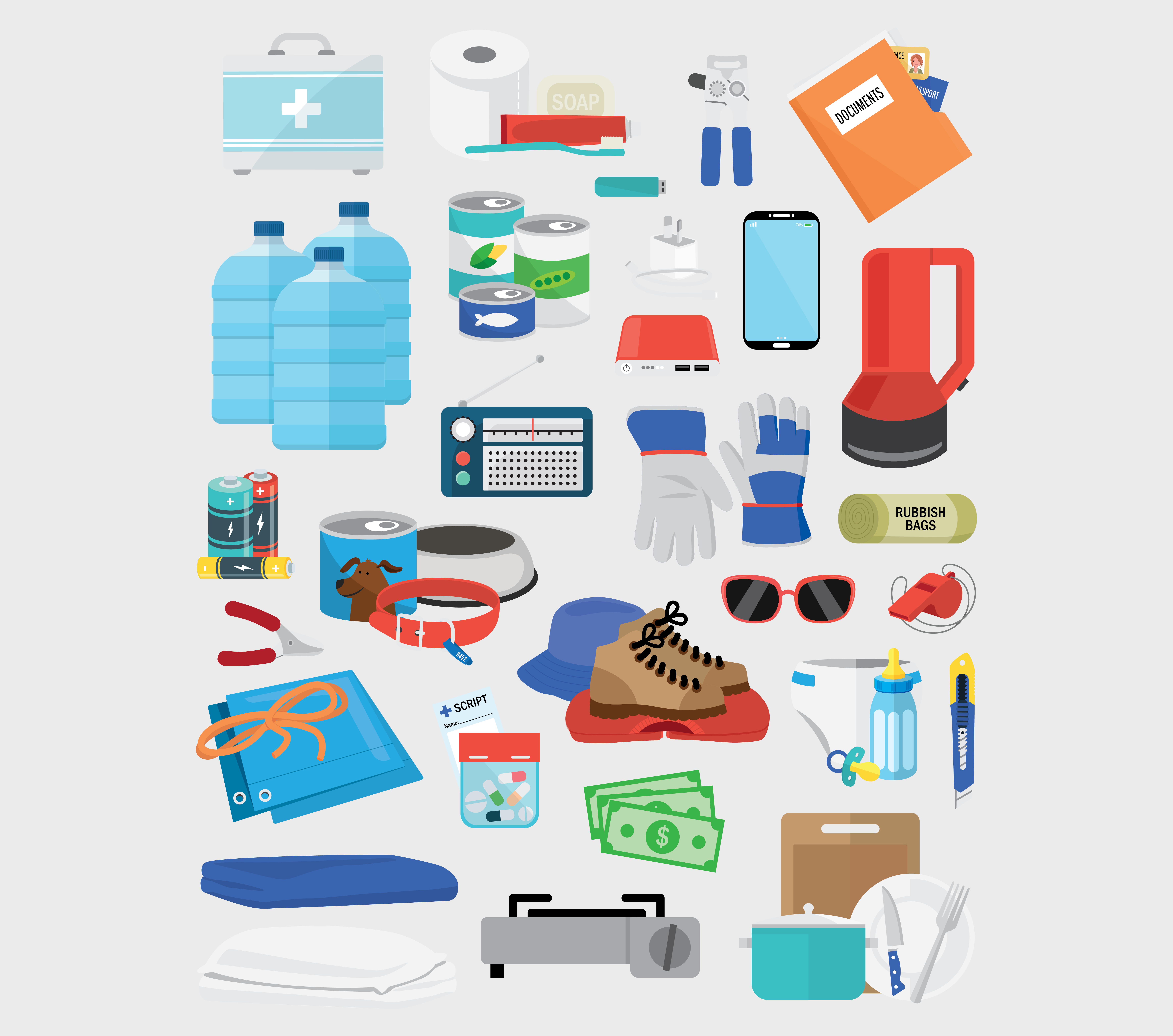 Comprehensive emergency kit items