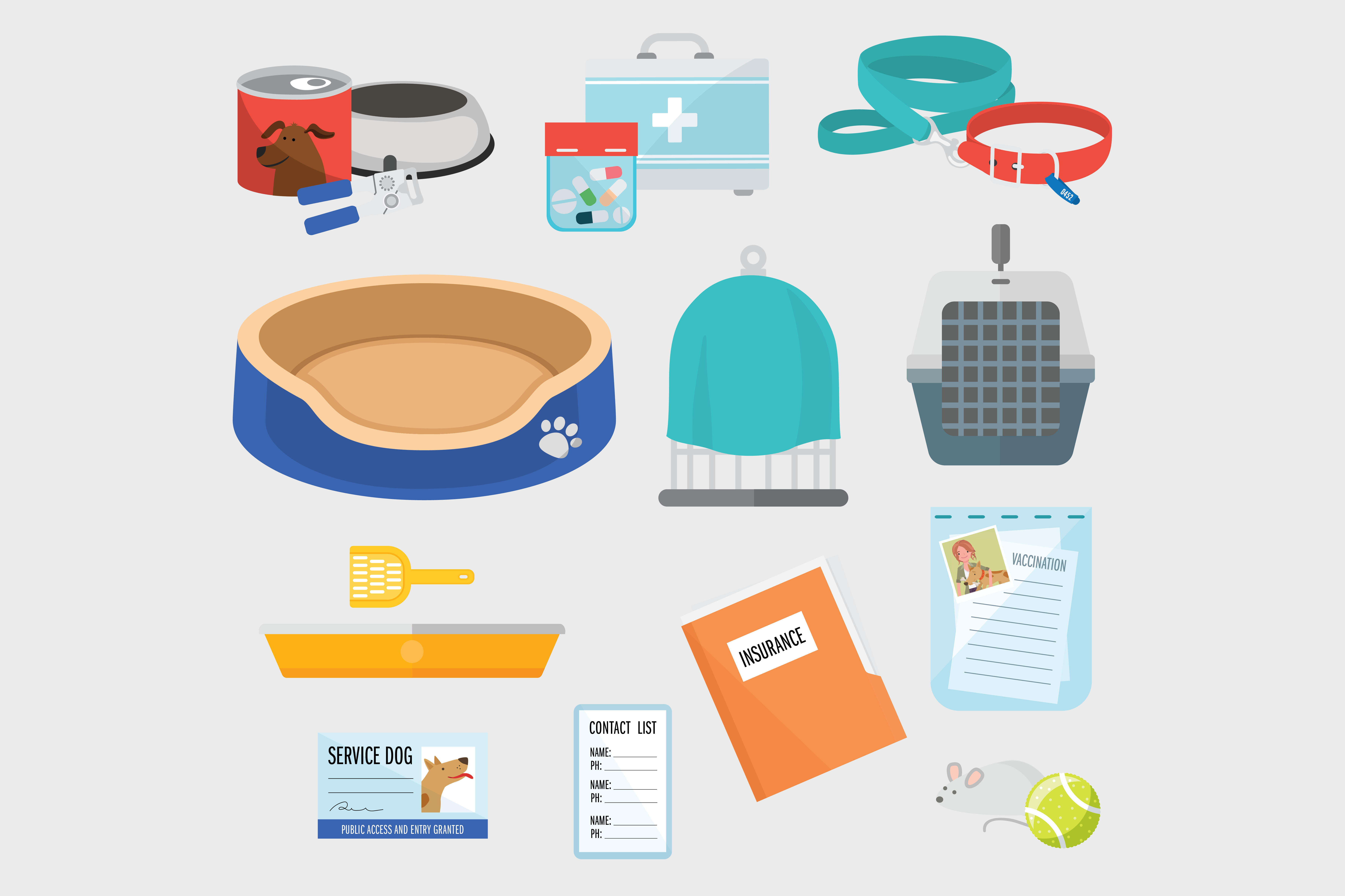 Pet emergency kit icons