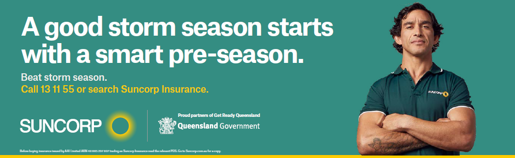 Suncorp Insurance advertisement with Johnathan Thurston. A good storm season starts with a smart pre-season.