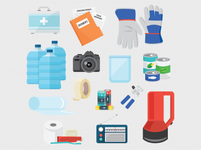 Business emergency kit icons