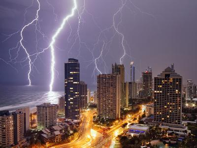 Lightning strikes over the Gold Coast
