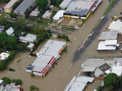 Aerial view of flooded town