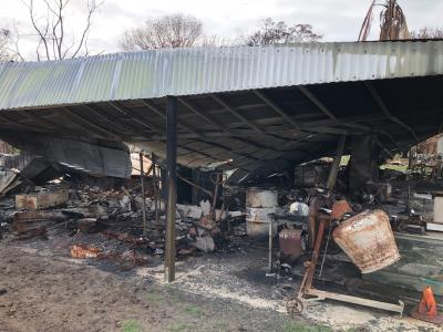 Shed and contents damaged by fire