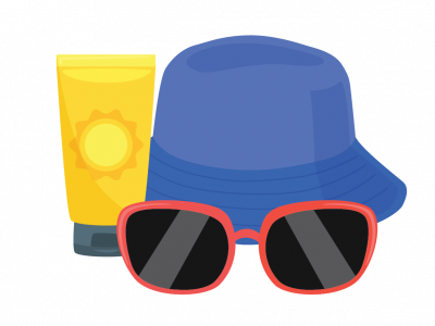 Sunglasses, hat and sunscreen icon