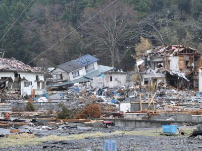 Buildings damaged by tsunami
