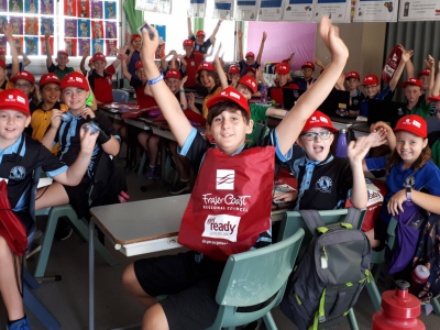 Students from Fraser Coast are visited by council to learn about preparing for local disaster risks as part of the Get Ready Queensland program