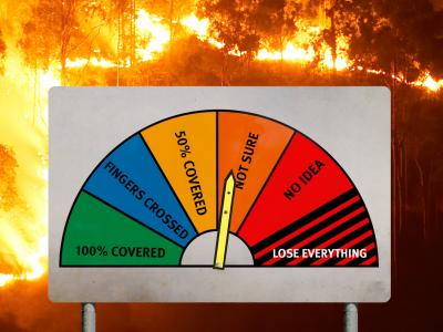 Fire hazard indicator with levels of bushfire insurance cover ranging from completely covered to lose everything. Background image is a fire line crossing through bushland in Queensland.